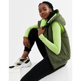 エイソス ASOS DESIGN レディース ベスト・ジレ トップス【hooded contrast gilet jacket in khaki and neon yellow】Khaki/neon yellow