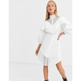 エイソス ASOS WHITE レディース ワンピース スケータードレス ワンピース・ドレス【lace insert cotton skater dress】White