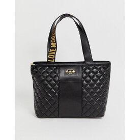 モスキーノ Love Moschino レディース トートバッグ バッグ【quilted faux leather logo strap tote bag】Black/gold