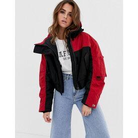 トミー ヒルフィガー Tommy Hilfiger レディース ジャケット ウィンドブレーカー アウター【hooded wind jacket】Black beauty/red