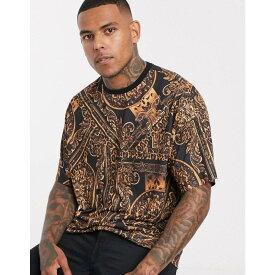 エイソス ASOS DESIGN メンズ Tシャツ ロング丈 トップス【oversized longline t-shirt with all over baroque print】Multi