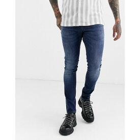エイソス ASOS DESIGN メンズ ジーンズ・デニム ボトムス・パンツ【super skinny jeans in dark wash】Dark wash blue