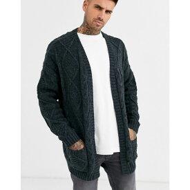 エイソス ASOS DESIGN メンズ カーディガン トップス【heavyweight cable knit cardigan in dark grey】Charcoal