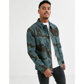エイソス ASOS DESIGN メンズ ジャケット Gジャン ワークジャケット アウター【denim worker jacket in overdyed blue camo print】Blue