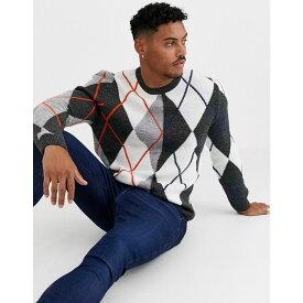 エイソス ASOS DESIGN メンズ ニット・セーター トップス【knitted argyle jumper in grey】Grey