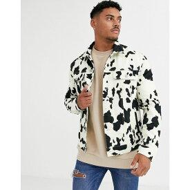 エイソス ASOS DESIGN メンズ ジャケット Gジャン アウター【denim jacket in cow print】White