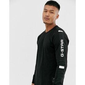 ジースター ロゥ G-Star メンズ 長袖Tシャツ トップス【swando organic cotton logo sleeve detail long sleeve top in black】Black