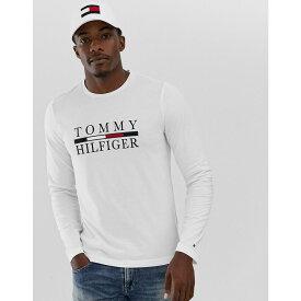 トミー ヒルフィガー Tommy Hilfiger メンズ 長袖Tシャツ トップス【large chest logo long sleeve t-shirt in white】Bright white