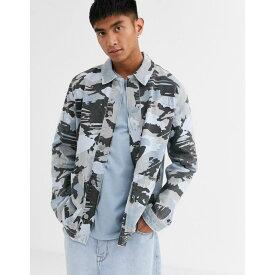 エイソス ASOS DESIGN メンズ ジャケット Gジャン ワークジャケット アウター【grey camo denim worker jacket】Grey