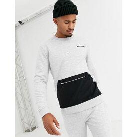 エイソス ASOS DESIGN メンズ スウェット・トレーナー トップス【co-ord sweatshirt with elements embroidery & nylon pocket】Grey