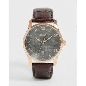 ヒューゴ ボス BOSS メンズ 腕時計 【1513740 master leather watch】Brown