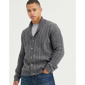 エイソス ASOS DESIGN メンズ カーディガン トップス【cable knit cardigan in charcoal】Grey