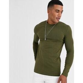 エイソス ASOS DESIGN メンズ 長袖Tシャツ トップス【muscle fit long sleeve t-shirt with crew neck in khaki】Dark olive