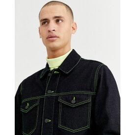 エイソス ASOS DESIGN メンズ ジャケット Gジャン アウター【denim jacket in indigo with neon stitch】Blue