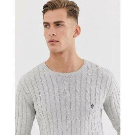 フレンチコネクション French Connection メンズ ニット・セーター トップス【100% cotton logo cable knit jumper】Grey