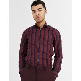 カルバンクライン Calvin Klein メンズ シャツ トップス【wide stripe slim fit shirt】Red