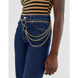 エイソス ASOS DESIGN レディース ベルト 【chain waist and hip belt in gold】Gold