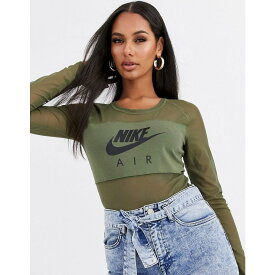 ナイキ Nike レディース ボディースーツ インナー・下着【air khaki green mesh bodysuit】Medium olive