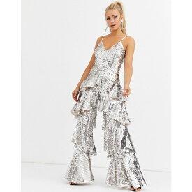 フォーエバーユニーク Forever Unique レディース オールインワン ジャンプスーツ ワイドパンツ ワンピース・ドレス【sequin wide leg tiered jumpsuit in silver】Silver