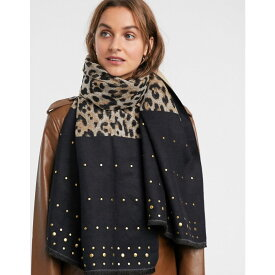 リバーアイランド River Island レディース マフラー・スカーフ・ストール 【oversized lightweight scarf with studs in leopard print】Brown print