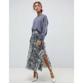 エイソス ASOS DESIGN レディース ひざ丈スカート スカート【pleated midi skirt in camoflauge embellishment】Multi