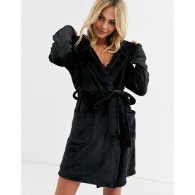 エイソス ASOS DESIGN レディース ガウン・バスローブ インナー・下着【super soft hooded mini robe】Black