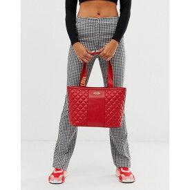 モスキーノ Love Moschino レディース トートバッグ バッグ【quilted faux leather logo strap tote bag】Red/gold