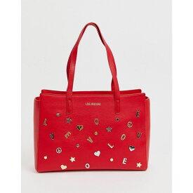 モスキーノ Love Moschino レディース トートバッグ バッグチャーム バッグ【charm stud faux leather tote bag】Red/gold