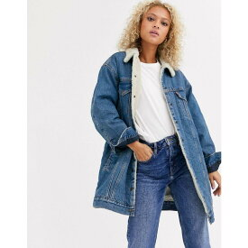 リーバイス Levi's レディース ジャケット Gジャン ロング丈 アウター【longline sherpa denim jacket in blue】Love shack