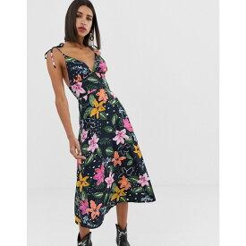 ネオンローズ Neon Rose レディース ワンピース キャミワンピ ワンピース・ドレス【midi cami dress with tie shoulders in tropical floral print】Navy tropical floral
