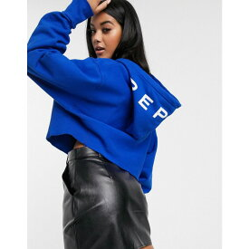 リプレイ Replay レディース パーカー トップス【cropped oversized sweater】Blue