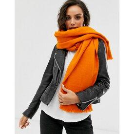 エイソス ASOS DESIGN レディース マフラー・スカーフ・ストール 【supersoft long woven scarf with raw edge in orange】Orange