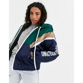 モスキーノ Love Moschino レディース ダウン・中綿ジャケット フード アウター【logo chevron padded hooded jacket】4061 navy chevron