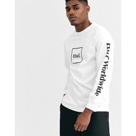 ハフ HUF メンズ 長袖Tシャツ トップス【Domestic box logo long sleeve t-shirt with arm print in white】White