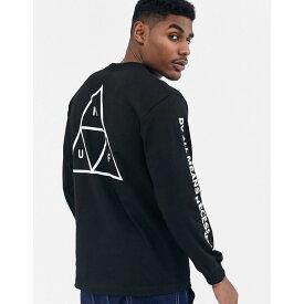 ハフ HUF メンズ 長袖Tシャツ トップス【Essentials Triple Triangle long sleeve t-shirt with arm and back print in black】Black