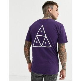 ハフ HUF メンズ Tシャツ トップス【Essentials Triple Triangle t-shirt with back print in purple】Purple