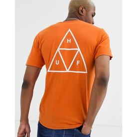 ハフ HUF メンズ Tシャツ トップス【Essentials Triple Triangle t-shirt with back print in orange】Orange