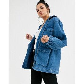 エイソス ASOS DESIGN レディース ジャケット Gジャン アウター【denim oversized patch pocket jacket】Blue