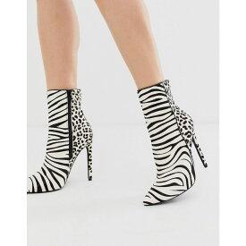 スティーブ マデン Steve Madden レディース ブーツ ピンヒール シューズ・靴【Winton heeled stiletto boots in zebra print】Zebra