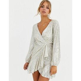 フォーエバーニュー Forever New レディース ワンピース ラップドレス ワンピース・ドレス【sequin flippy hem wrap dress in silver】Silver