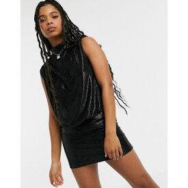 モスキーノ Love Moschino レディース ワンピース ワンピース・ドレス【high neck wetlook draped dress】black shiny