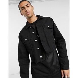 エイソス ASOS DESIGN メンズ ジャケット Gジャン ウォッシュ加工 アウター【cropped denim jacket in washed black】Washed black