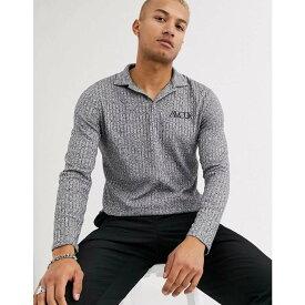エイソス ASOS DESIGN メンズ ポロシャツ トップス【long sleeve polo shirt in interest rib and embroidery】Grey