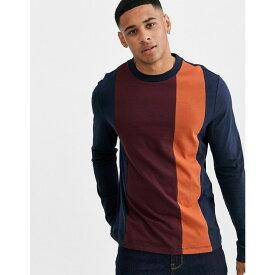 エイソス ASOS DESIGN メンズ 長袖Tシャツ トップス【organic long sleeve t-shirt with vertical colour block in navy】Navy