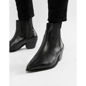 エイソス ASOS DESIGN メンズ ブーツ チェルシーブーツ ウェスタンブーツ シューズ・靴【cuban heel western chelsea boots in black leather with lightning detail】Black