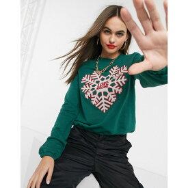 モスキーノ Love Moschino レディース スウェット・トレーナー トップス【snow flake print logo sweatshirt】T green