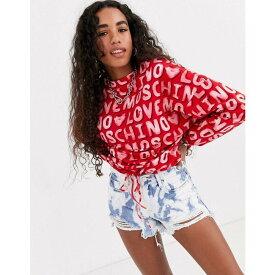 モスキーノ Love Moschino レディース スウェット・トレーナー トップス【allover logo print sweatshirt】red