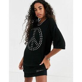 モスキーノ Love Moschino レディース ワンピース Tシャツワンピース ワンピース・ドレス【peace studded t-shirt dress】Black