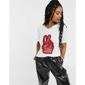 モスキーノ Love Moschino レディース Tシャツ トップス【fan hands logo t-shirt】Optical white a