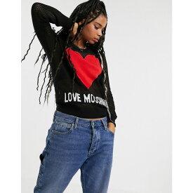 モスキーノ Love Moschino レディース ニット・セーター トップス【heart logo jumper with sheer mesh sleeves】Black c